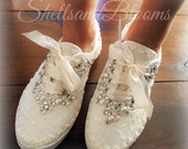 Wedding Bridal Flat Shoes - chic ivory or white lace - Rhinestone Pearls - eyelet trim - Shabby vintage inspired - sneakers tennis