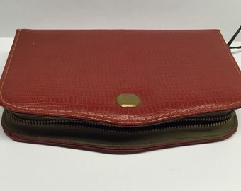 Crane Brand Leather Box Red Vintage
