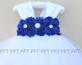Blue, Cobalt, Dark Royal Blue & White (or ivory) Flower Girl Dress With Cap Sleeves