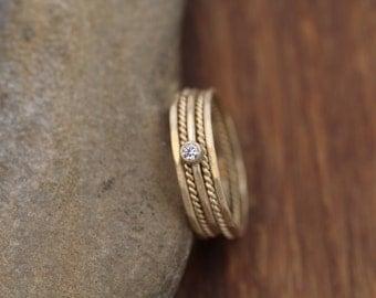 Diamond Gold Stacking Ring Set Matte Finish - Choice of Size Diamond Stacking Ring Set - VS Diamond Ring - Diamond Ring