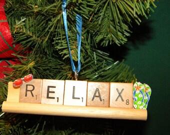 Relax Scrabble Ornament on Rack 7372