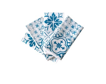 Blue or Black Tiles linen napkins (set of 4)