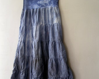 Indigo Blue Batik Long Skirt, Hand Dyed Shibori Maxi Pleated Skirt, Stretchy Waist Skirt, Boho Cotton Clothing, Altered Skirt High Waist