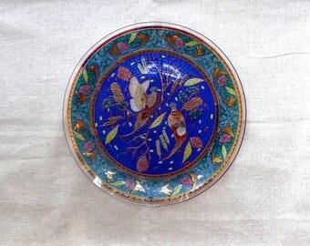 "vintage reverse painted bird plate 11"""