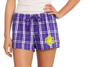 Monogrammed Plaid Flannel Boxer Pajama Short- Purple Plaid Flannel Boxer PJ Shorts- Women's Monogrammed Plaid Lounge Shorts- Monogram PJ