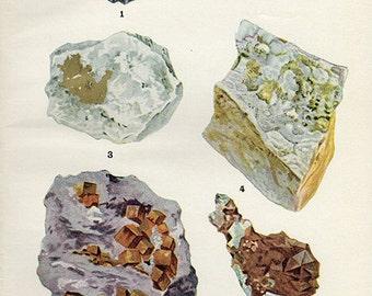 Vintage 1911 Minerals Print Antique Gems Precious Stones print gemstones print, bookplate art print, minerals wall print wall art 3