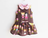 BFFs Girl Baby Girl Dress sewing pattern Pdf ,  Easy Sleeveless Collared Dress, Peter Pan Collar, newborn 3 6 9 12 18 m 1 2  3  4  5  6 yrs