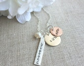 Personalized New Bride Mixed Metals Necklace .