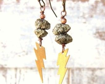 Pyrite Earrings. Lightening Bolt Earrings. Pyrite Drop Earrings.Pyrite and Lightening Dangle Earrings.Pyrite Jewelry.Lightening Bolt Jewelry