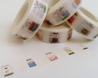 Cute Floral Mason Jar Washi Tape