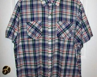 SAlE 80% Off Vintage 1960s Men's Blue, White & Green Plaid Shirt by Regent XL Now 1.20 USD