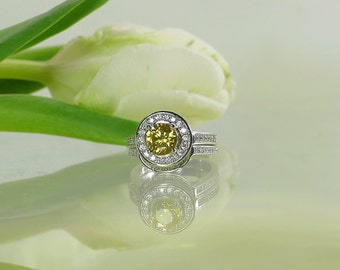 Zircon, Zircon Ring, Yellow Gemstone Engagement Ring, Sterling Wedding set, Natural Gemstone Wedding Set,  Zircon Wedding Set,