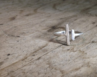VIIVA Ring - sterling silver / shiny / dark oxidized recycled silver, adjustable rustic delicate ring