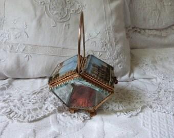 Antique French ormolu box trinket box jewelry box w Eiffel Tower w Notre Dame of Paris print French box w silk padded cushion keepsake box