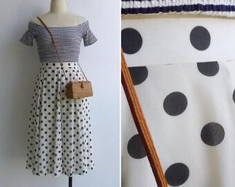 15% SALE (Code In Shop) - Vintage 80's 'Miss Monroe' Black & White Polka Dot Swing Skirt M or L