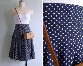 Vintage 80's 'Hokey Pokey' Polka Dot High Waisted Full Swing Skirt XS