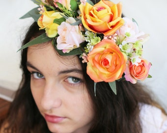 Peaches- peach, apricot and cream silk flower / floral crown, hair circlet. Roses, waxflower and native foliage hair accessory.