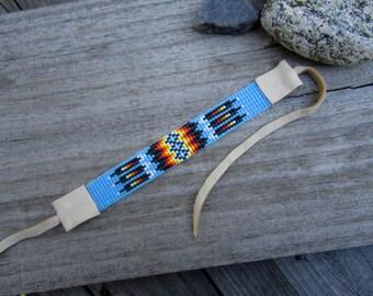 Turquoise Seed Beaded Bracelet, Loom Beaded Bracelet with Deerskin Leather Ties