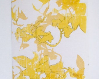 Yellow and brown hand printed ivy card