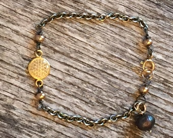 Pave Diamond Connector Bracelet - Rustic Gold Jewelry - Oxidized Sterling Silver - Mixed Metals - Artisan Sundance Style Jewelry