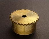 Large Brass Cylinder Gear, Mainspring Barrel from Vintage Clock Movement, Vintage Clockwork Mechanism Parts, Steampunk Art Supplies 03880
