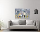 Geometric art 40x28 city abstract Acrylic Painting Canvas Painting grey painting yellow Wall Art Mid century art Duealberi