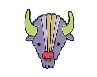 Soft Enamel Bison Pin Enamel Purple Buffalo Pin Colorful Bison Pin