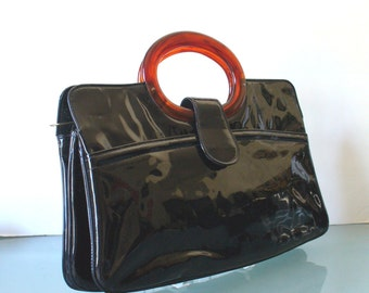 Vintage  Black Patent Leather Clutch Bag