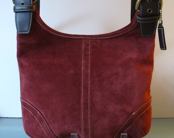 Vintage Coach Cranberry Suede Hobo Bag