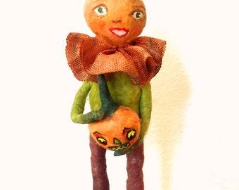 Spun cotton pumpkin boy Halloween veggie OOAK vintage craft anthropomorphic feather tree ornament by jejeMae