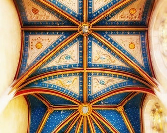 French Ceiling Photo, Church Photograph, Geometric Art, Gold and Blue Decor, Chapel Photo, Architecture Print, Interior Design, Home Decor