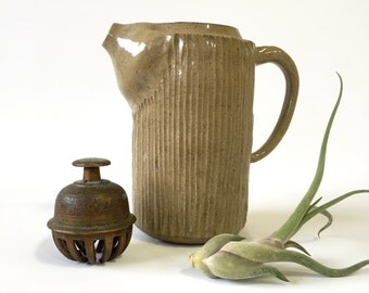 Rustic Ceramic Pitcher or vase, Neutral Pottery, Stamped Kelowna Canada