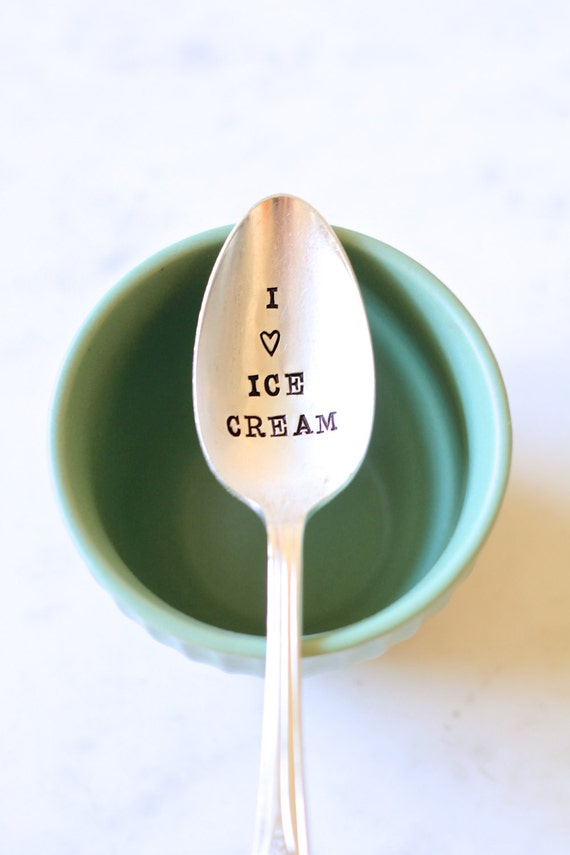I Love Ice Cream. Stamped Ice Cream Spoon. Perfect gift for the ice cream lover. As Seen on KTLA 5 Morning News