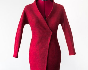 Red Felted coat for Women | wool coat | red coat | red wool coat | spring coat | felted wool coat