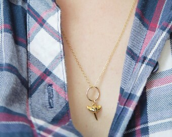 Gold filled shark tooth pendant necklace