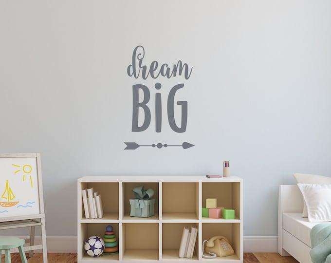 Dream Big Wall Decal | Nursery Decor for Boys | Playroom Wall Art