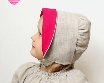 Linen sun bonnet Girls bonnet Reversible bonnet Baby girl sun hat Pink Gray/Oatmeal linen sun hat Toddler bonnet Lined sun hat