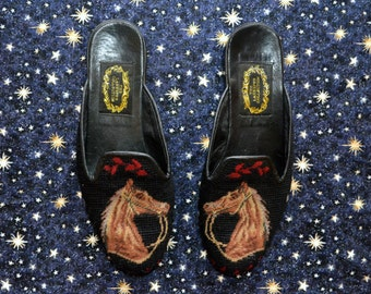 RARE Larkspur Collection Needlepoint Horse Slip-On Shoes