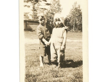 "Vintage Photo - "" So Serious"" - Cute Little Boy and Girl Holding Hands - Brother and Sister - Snapshot - Found Vernacular Photo"