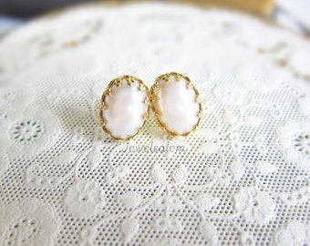 Pearl Earrings Stud Gold Plated Bridesmaids Gift Vintage Wedding Bridal Jewelry Romantic Victorian Chic Elegant