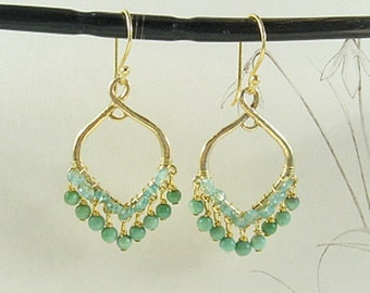 Peru Opal and Tourmaline Chandelier Earrings