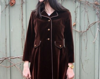 vintage 1960s brown velvet Coat Mod designer Lou Ritchie of Montreal tailored Jewelled buttons single breasted mid length fall coat
