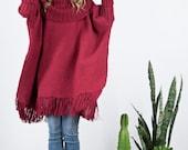 Red Oversized tunic turtle neck Wrap in merino wool, Fringe Kimono, Women's men's Poncho