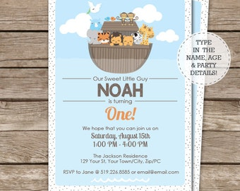 Noah's Ark Birthday Invitation - Ark Invitation - Ark 1st Birthday - 5x7 - Instant Download & Personalize in Adobe Reader at home