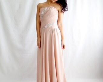 Wedding dress, blush wedding dress, long wedding dress, pink wedding dress,prom dress,bridesmaid dress, reception dress, beach wedding dress