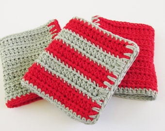 Washcloths Assorted Set of 3, Dishcloths for Kitchen, Washcloths Cotton, Dishcloths Crochet, Washcloths in Red and Gray