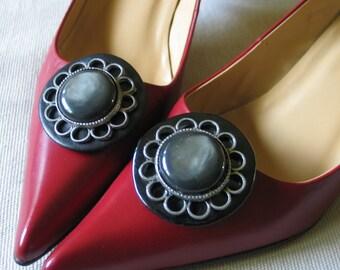 Vintage 1960s Mod Grey Gray Circular Shoe Clips