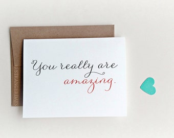 "Anniversary Card ""  You really are amazing"" Greeting card. I love you card. Sweetheart Card. Adore. Red Heart. Romantic."