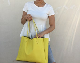 Leather bag Leather tote bag Yellow leather bag Tote bag Women bag