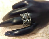 The Peggy- Crystal Satin AB Swarovski Crystal and Lacey Smoked Silver Seed Bead Stretchy Fashion Right Angle Weave Ring